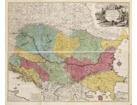LOTTER, T. C. -  Carte Geographique du Theatre de la Guerre en General representant le Royaume de Hongarie la Principauté de Transylvanie, et les Royaumes de Croacie, de Dalmacie, de Esclavonie, de Bosnie, de Servie . . . avec une grande Partie de l'Etat