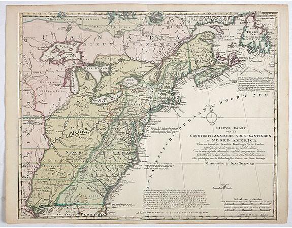TIRION, I. -  Nieuwe Kaart van de Grootbrittannische Volkplantingen in Noord America waar in Tevens de Fransche Bezittingen en de Landen tuschen die Beide Volken. . .