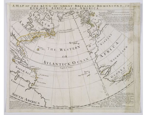 BOWEN, E. - A Map of the King of Great Britain's Dominions in Europe, Africa, and America.
