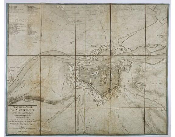 JAILLOT, J. -  Plan de la ville de Maestricht avec ses attaques commandées par M. le maréchal de Saxe, depuis le 15 avril jusqu'au 3 may 1748 . . .