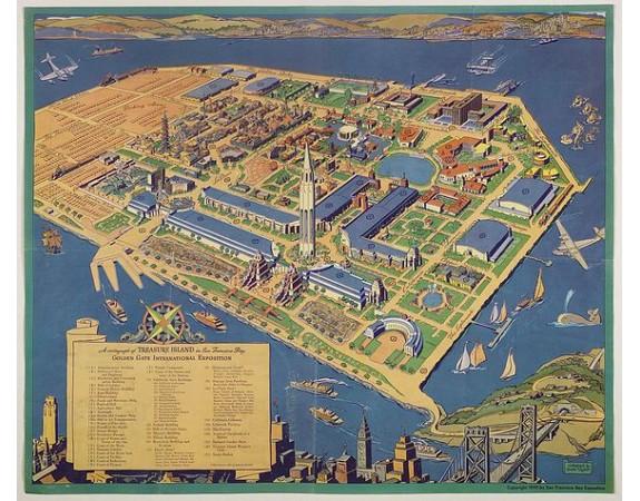 TAYLOR, R. -  A cartograph of Treasure Island in San Francisco Bay Golden Gate International Exposition;
