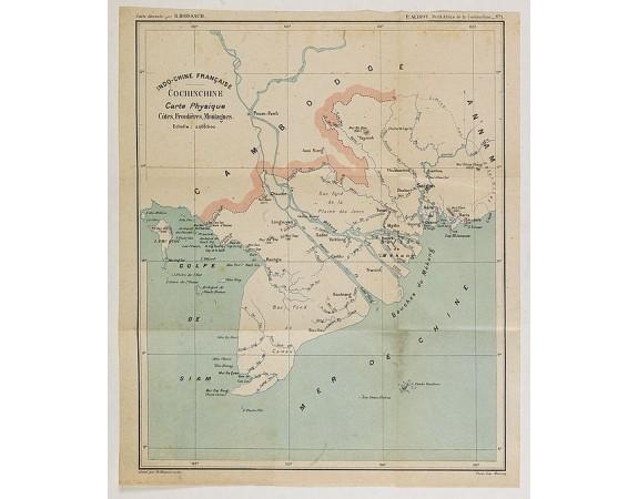 ALINOT, P -  Indo-Chine Française Cochinchine. Carte Physique Côtes, Frontières, Montagnes.