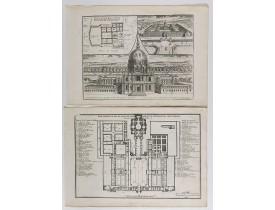 DE FER, N. -  Veue en perspective de l'hostel Royal des Invalides   [together with] Grand portail et Dome de l'Eglise de l'hostel Royal des Invalides.