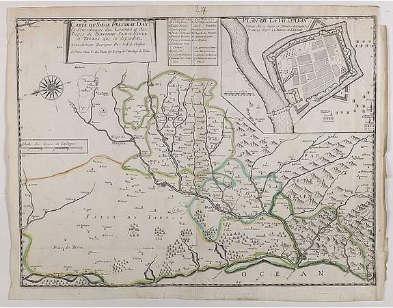 DELAPOINTE, F. -  Carte du siège présidial Dax et seneschaucee des Lannes et des sieges de Bayonne sainct sever et Tartas qui en dependent Nouvellement dessignee Par le Sr de Classun.