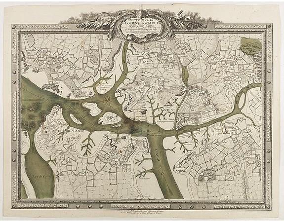CHALMANDRIER, N. -  Nouveau Plan de L'Orient, du Port-Louis et de Leurs Rades Avec tous les Bancs de Sables Vases Rochers & Ecueils qui se decouvrent lorsque la Mer est basse .
