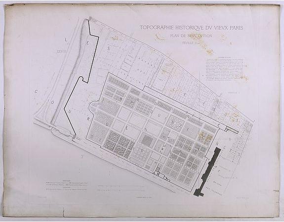 BERTY, A. -  Topographie historique du vieux Paris / Plan de restitution Feuille V bis.