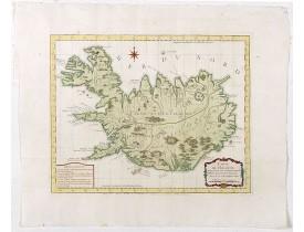 BELLIN, J.N. -  Carte de l'Islande pour servir á la continuation de l'histoire générale des voyages. Dressée sur celle de M. Horrebows.
