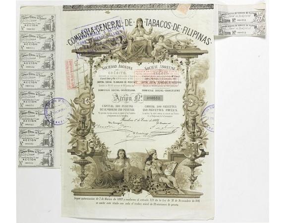 Compania General De Tabacos De Filipinas. -  Compania General De Tabacos De Filipinas - (Certificate) Accion ordinarias de 500 Pesetas, Barcelona, 01.01.1882.