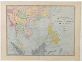ANDRIVEAU-GOUJON, J. -  Carte de l'Asie orientale comprenant l'empire chinois le Japon les états de l'Indo-Chine et le grand archipel d'Asie ou Malaisie.