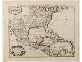 COVENS, J. / MORTIER, C. -  Carte du Mexique et de la Floride, des terres angloises et des isles Antilles, du cours et des environs de la rivière Mississipi. . .