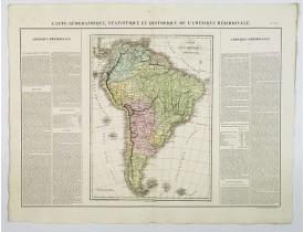 BUCHON, J. A. -  Carte Geographique, Statistique et Historique de l'Amerique Meridionale.