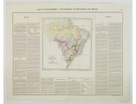 BUCHON, J. A. -  Carte Geographique, Statistique et Historique du Bresil.