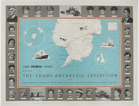 ANONYME. -  The Times Map Of The Trans-Antarctic Expedition Antarctica South Pole Vivian Fuchs Edmund Hillary.
