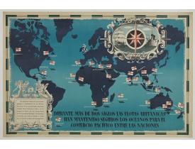 FRASER, E. -  British Empire Trade Map WWII Eric Fraser.