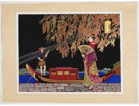 BAUBAUT, L. -  Art Deco gouache with Japanese scene.