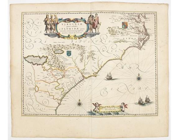BLAEU, W. -  Virginiae Partis Australis, et Floridae Partis Orientalis.