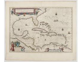 BLAEU, W. -  Insulae Americanae in Oceanus Septentrionali cum Terris..