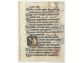 PSALTER. -  Illuminated leaf from a liturgical Psalter.