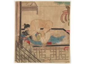 ORIENTAL MINIATURE ON IVORY -  Chinese erotic painting on silk.