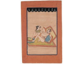 INDIA -  Indian erotic painting on paper.