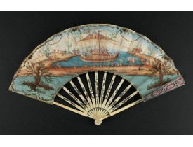 ANONYMOUS -  A folding  fan showing a nautical festival, ca. 1770.