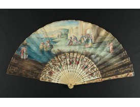 ANONYMOUS -  A folding  fan showing Cleopatra at the Gates of Alexandria, circa 1750-1760.