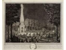 MOREAU LE JEUNE. -  Réjouissances du Peuple près de la Pyramide d'Illumination, élévée sur l'Esplanade de la Porte de Mars et Distribution de Vivres, fontaines de Vin ; sous les Ordres de Mrs. Du Conseil de la Ville, à Reims le 27 Aoust 1765.