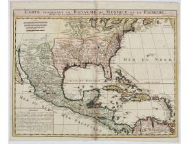 CHATELAIN, H. - Carte contenant le Royaume du Mexique et la Floride.