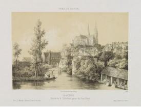 DEROY. -  Chartres. Abside de la Cathédrale, prise du Pont-Neuf.