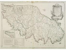 JAILLOT, H. /  SANTINI. -  Carte Particuliere de l'Isle de Corse. Divisée par ses Dix Provinces ou Juridictions et ses quatre Fiefs..