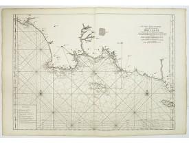 LE NEPTUNE FRANCOIS. -  6.me Carte Particuliere des Costes de Bretagne depuis la Baye d' Hodierne jusqu' a l' Isle de Groa, Contenant les Isles de Glenan.