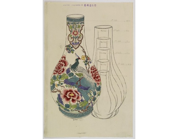 FOURMAINTRAUX, G. / DESVRES -  Designs for porcelain vase with chinese motif.