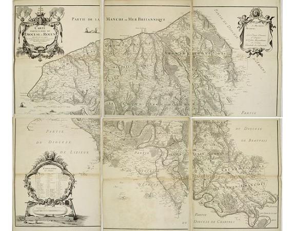 FREMONT. - Carte particulière du Diocèse de Rouen dressée sur les lieux par Mr Fremont de Dieppe.