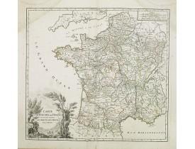 ROBERT DE VAUGONDY, G. -  Carte du Royaume de France. . . Les Routes des Postes.