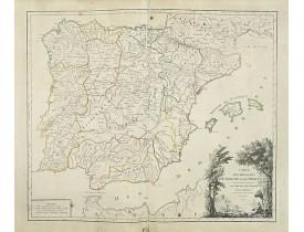 ROBERT DE VAUGONDY, G. -  Carte des Royaumes d'Espagne et de Portugal.