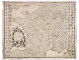 DE LA FOSSE, J.B. -  Carte de France divisée en ses Provinces et Gouvernement militaires avec toutes les Principales Routes du Royaume et Assujettie aux Observations de Mrs de l'Académie des sciences.  . .