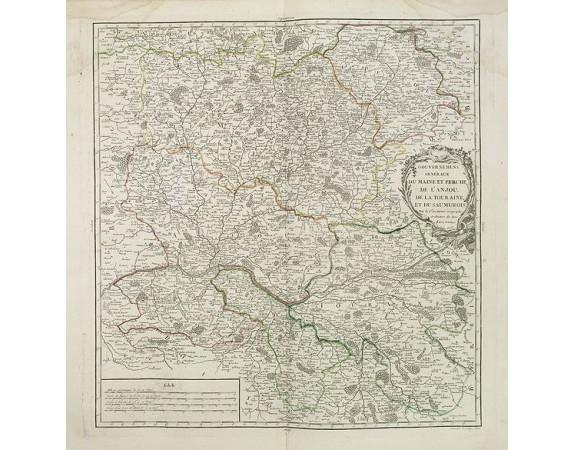 ROBERT DE VAUGONDY, G. -  Gouvernements généraux du Maine et Perche, de l'Anjou, de la Touraine et du Saumurois. . .