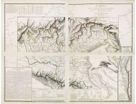 DEPOSITO GENERALE DELLA GUERRA. -  Carta delle stazioni militari, navigazione e poste del Regno d'Italia.