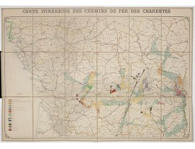ANONYME. -  Carte itinéraire des chemins de fer des Charentes.