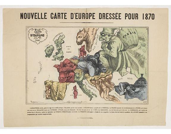HADOL. -  Nouvelle Carte d'Europe dressée pour 1870 / Carte drolatique d'Europe pour 1870 dressée par Hadol.