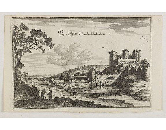 MERIAN, C. -  Prosp. des Schlosses de Bourbon l'Archambaut.
