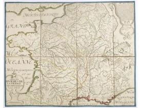 SANSON, N. -  Carte des rivières de la France curieusement recherchée.