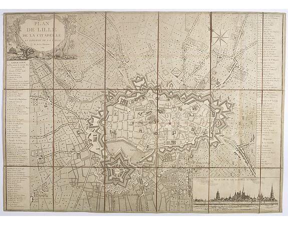 ANONYME. -  Plan de Lille de la citadelle et banlieue de la ville et de ses environs.