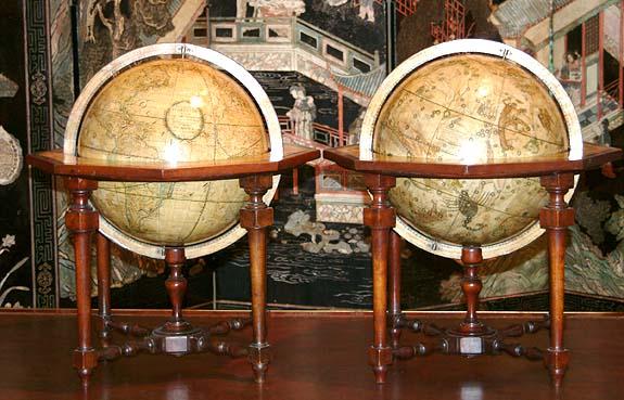 Paire de globes céleste et terrestre, Cassini globes ...